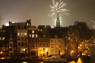 fireworks above amsterdam